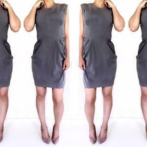Anthropologie HD in Paris Silk Dress Gray size 6